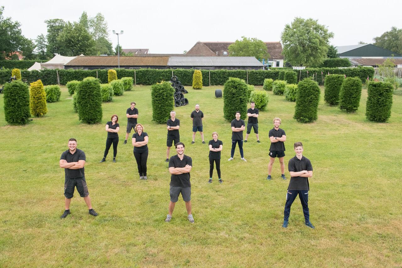Groepsfoto stage lopen in de sport bij Polderevents
